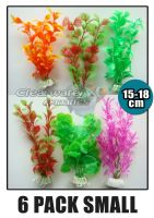 6 Pack Mixed Aquarium Plastic Plants 15-18cm